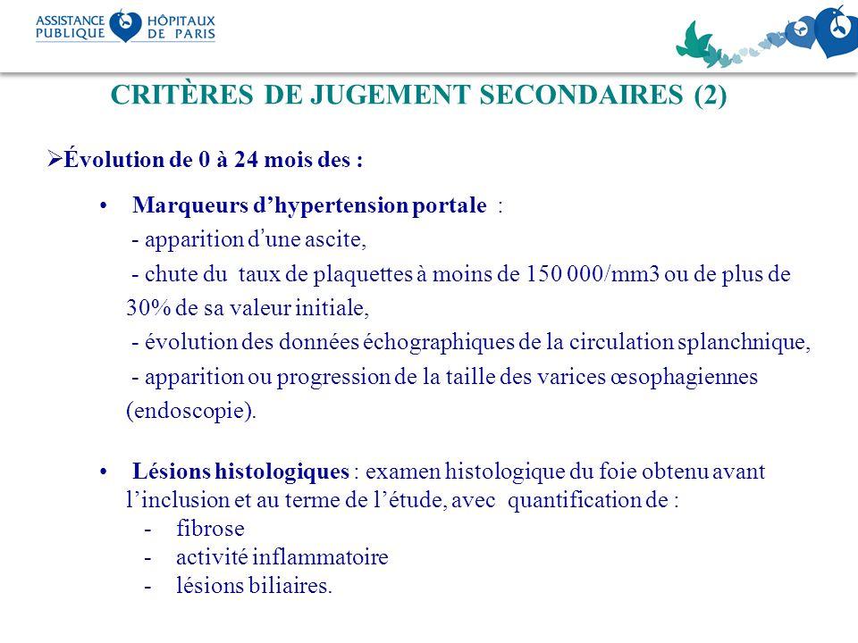 CRITÈRES DE JUGEMENT SECONDAIRES (2)