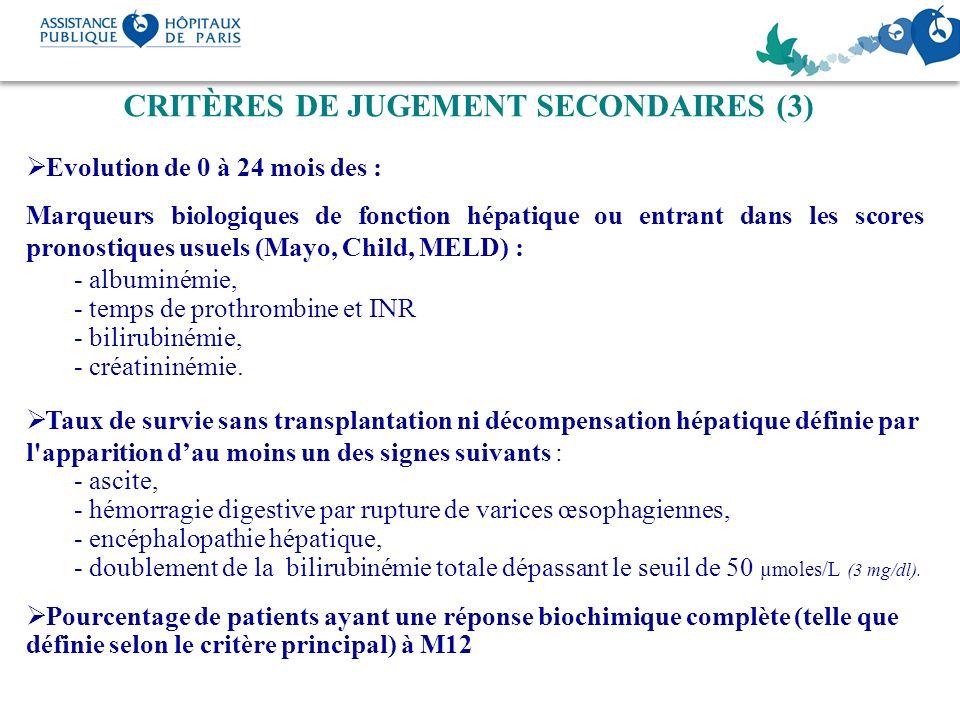 CRITÈRES DE JUGEMENT SECONDAIRES (3)