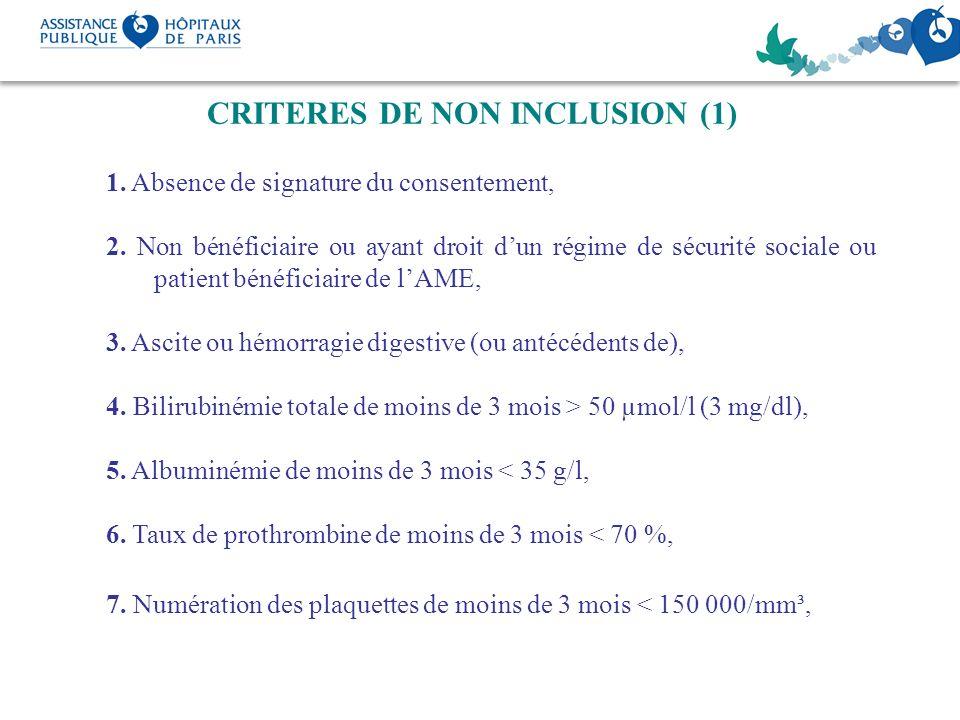 CRITERES DE NON INCLUSION (1)