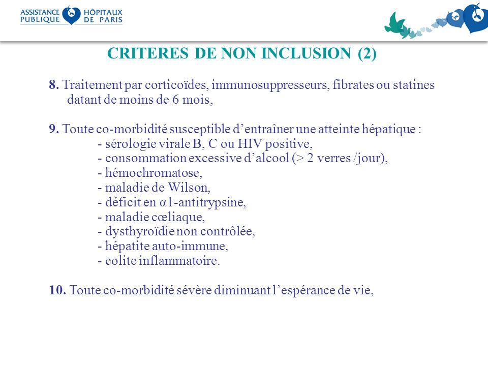 CRITERES DE NON INCLUSION (2)