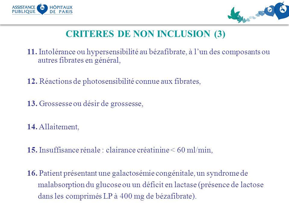 CRITERES DE NON INCLUSION (3)