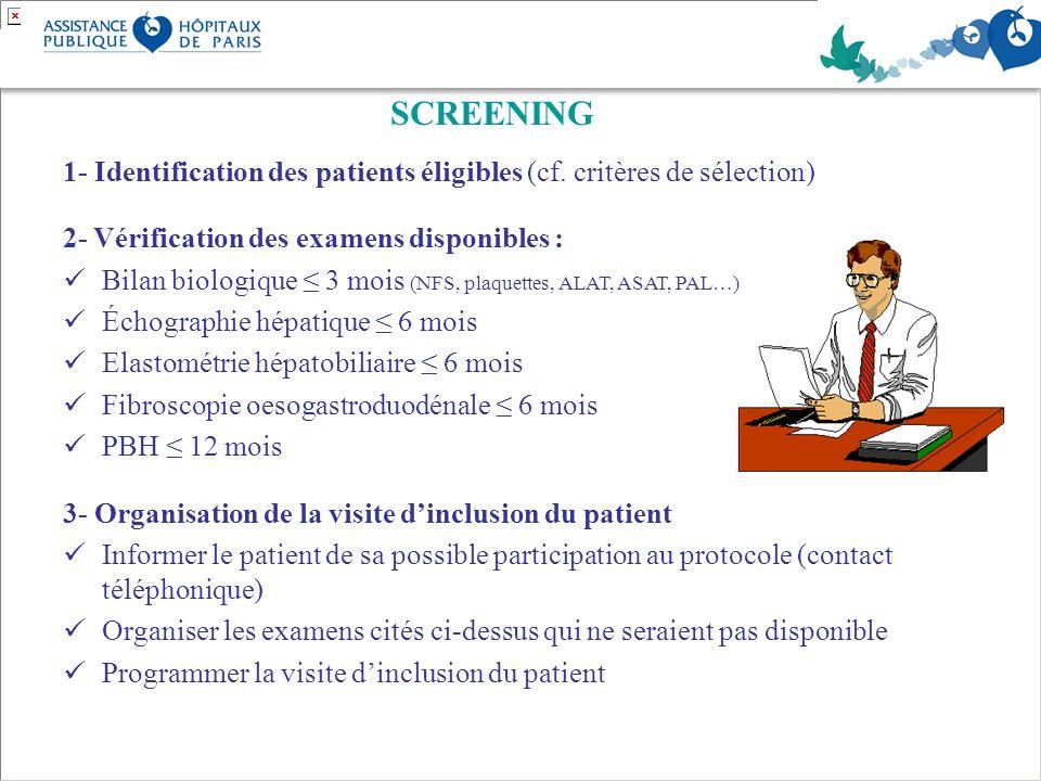 SCREENING 1- Identification des patients éligibles (cf. critères de sélection) 2- Vérification des examens disponibles :