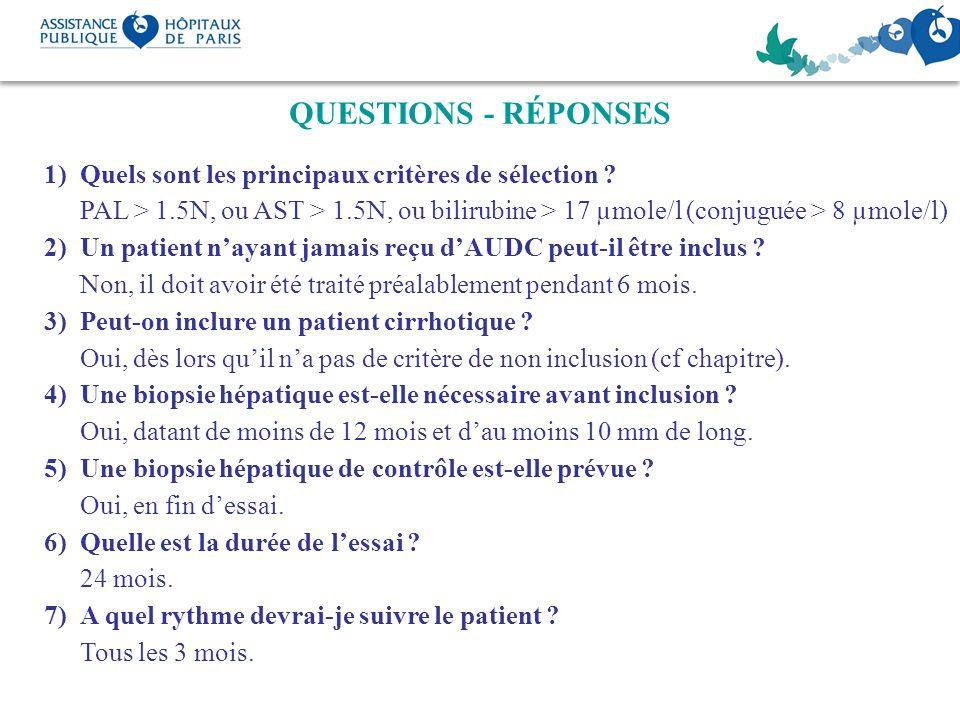 QUESTIONS - RÉPONSES Quels sont les principaux critères de sélection PAL > 1.5N, ou AST > 1.5N, ou bilirubine > 17 µmole/l (conjuguée > 8 µmole/l)