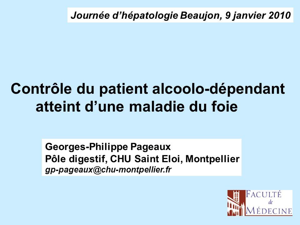Contrôle du patient alcoolo-dépendant atteint d'une maladie du foie