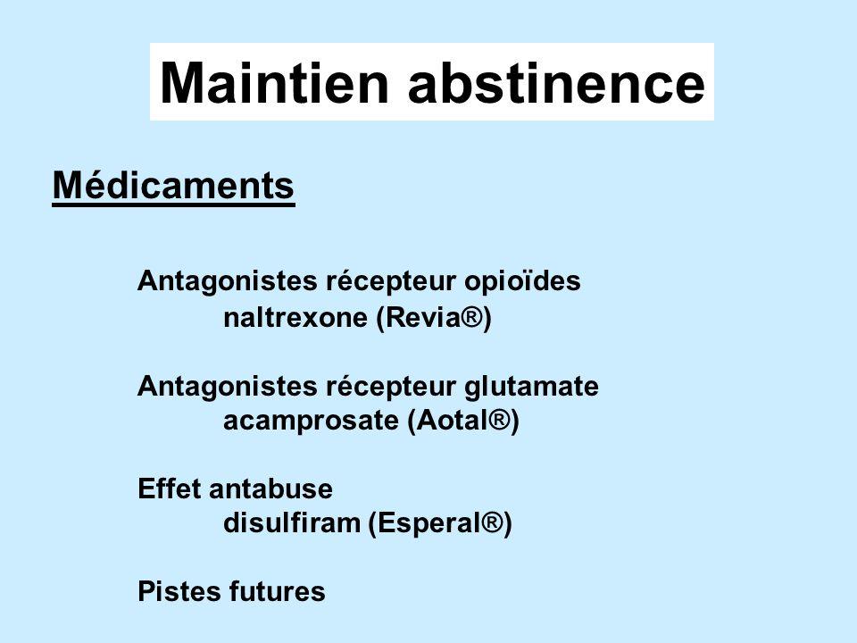Maintien abstinence Médicaments Antagonistes récepteur opioïdes
