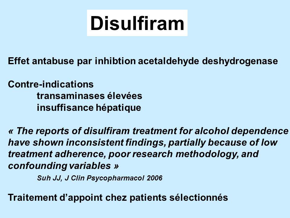 Disulfiram Effet antabuse par inhibtion acetaldehyde deshydrogenase