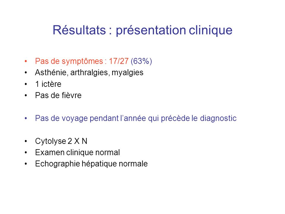 Résultats : présentation clinique