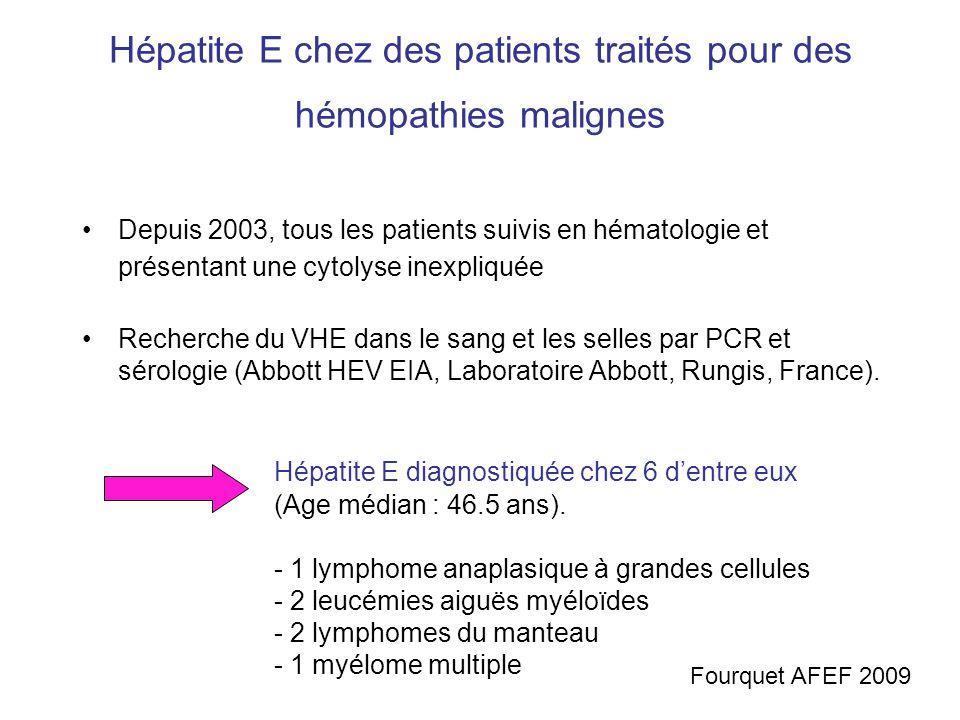 Hépatite E chez des patients traités pour des hémopathies malignes
