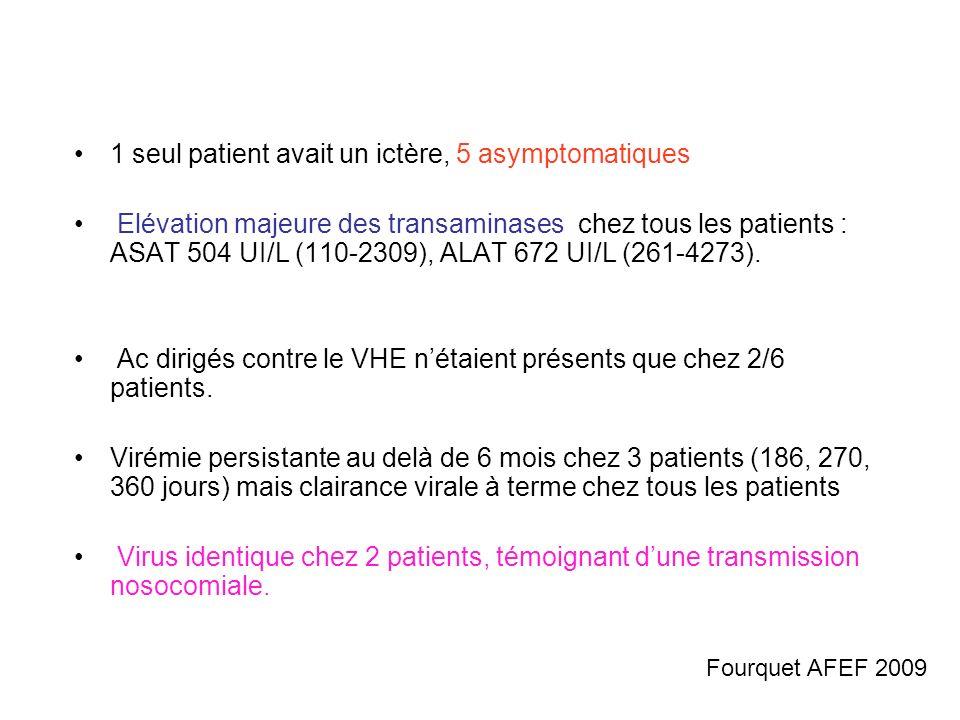 1 seul patient avait un ictère, 5 asymptomatiques