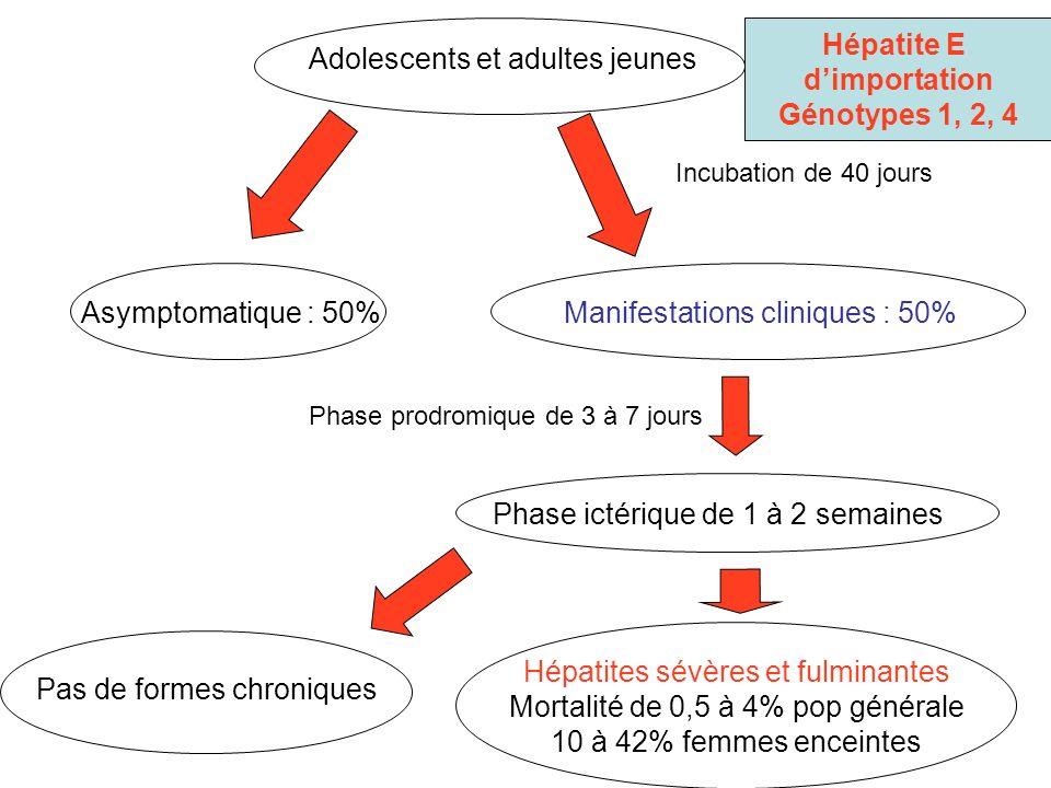 Hépatite E d'importation Génotypes 1, 2, 4