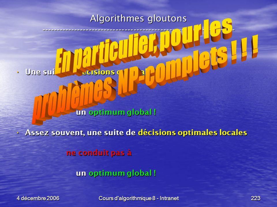 En particulier, pour les problèmes NP-complets ! ! !