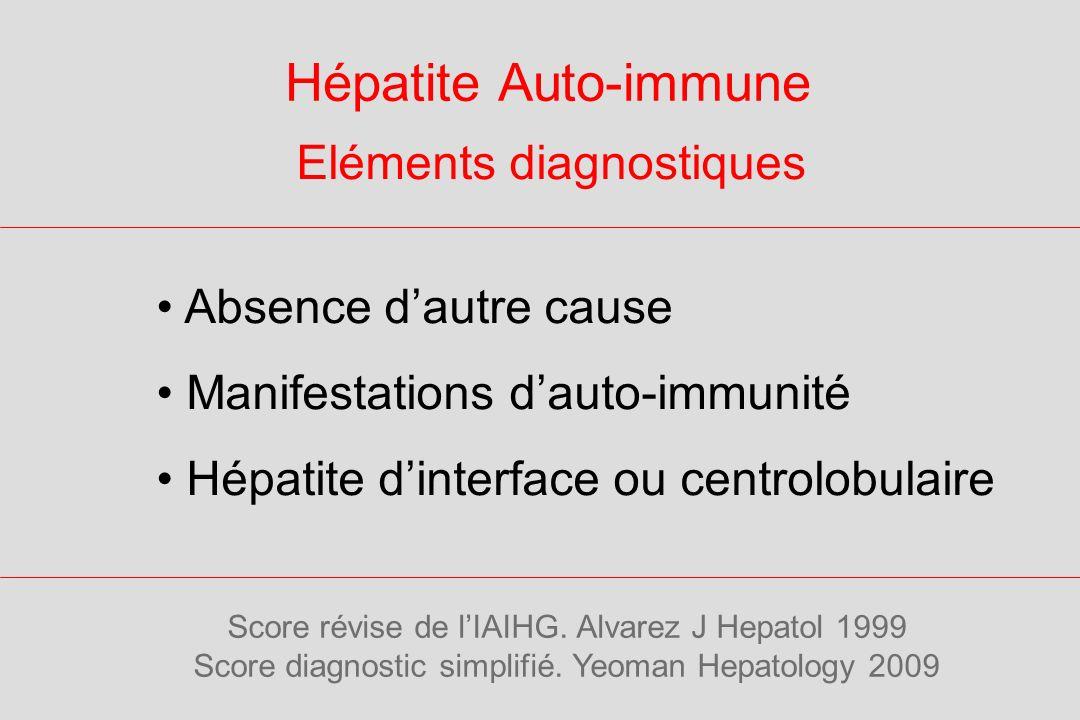 Hépatite Auto-immune Eléments diagnostiques Absence d'autre cause