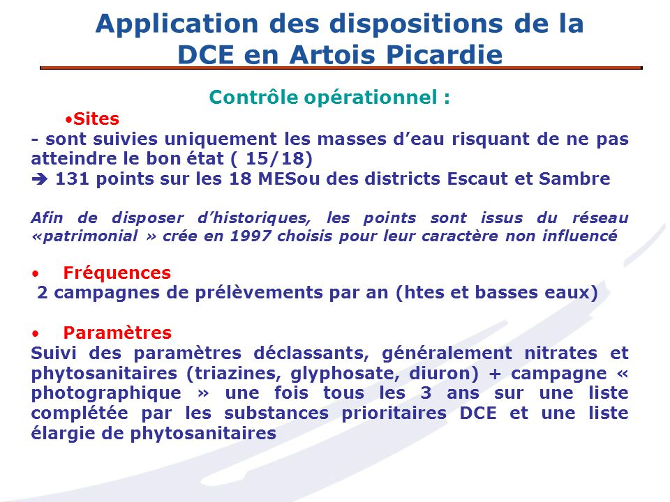 Application des dispositions de la DCE en Artois Picardie