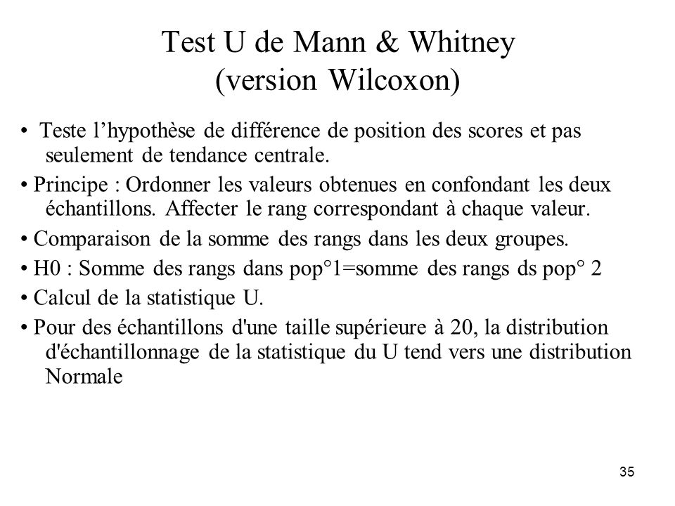 Test U de Mann & Whitney (version Wilcoxon)