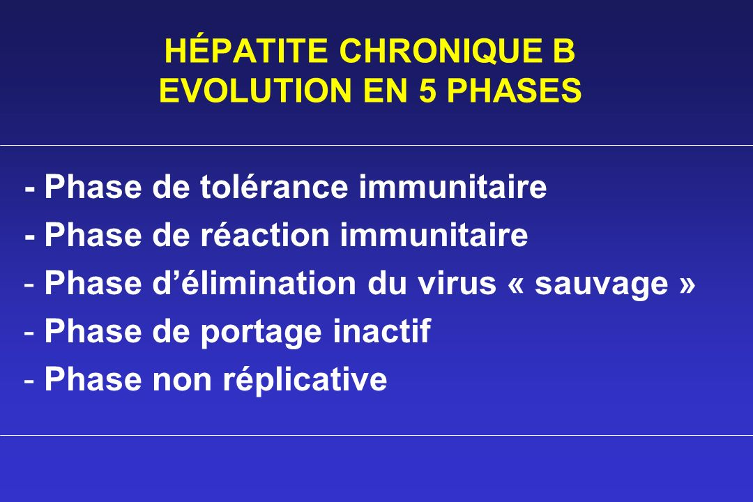 HÉPATITE CHRONIQUE B EVOLUTION EN 5 PHASES