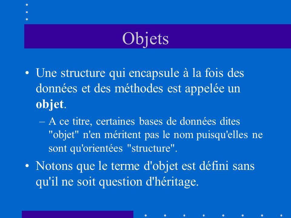 Objets Une structure qui encapsule à la fois des données et des méthodes est appelée un objet.