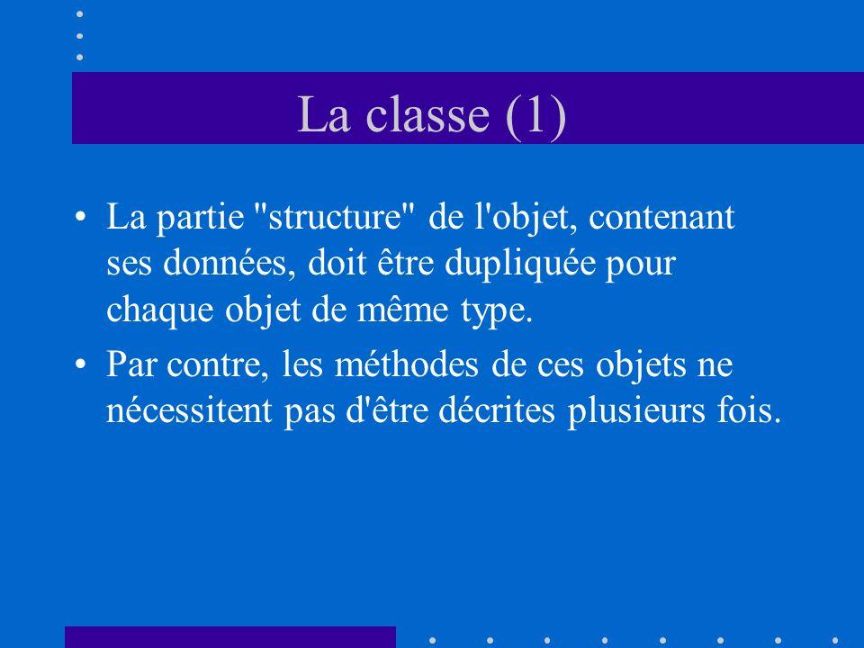 La classe (1) La partie structure de l objet, contenant ses données, doit être dupliquée pour chaque objet de même type.
