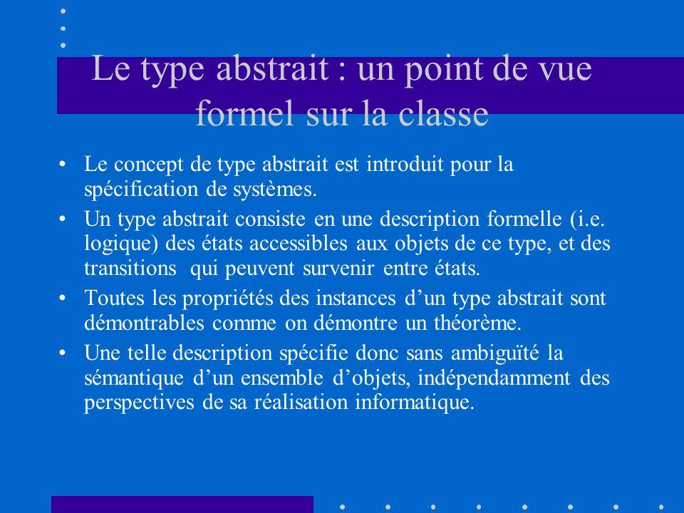 Le type abstrait : un point de vue formel sur la classe