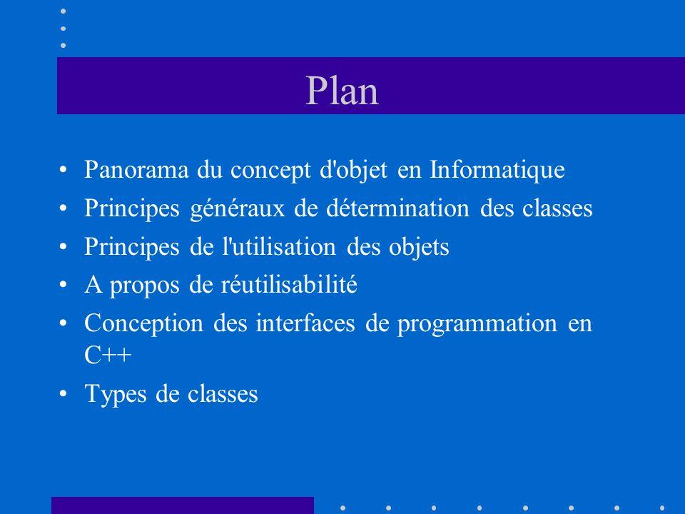 Plan Panorama du concept d objet en Informatique
