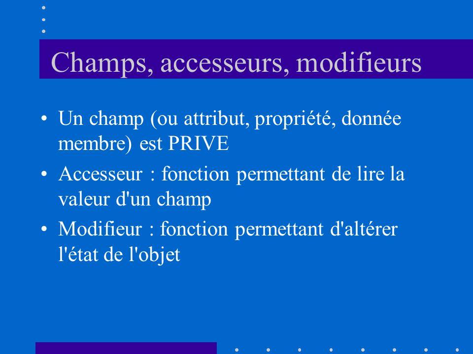Champs, accesseurs, modifieurs