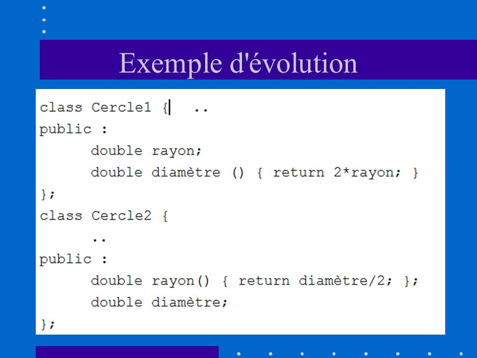 Exemple d évolution