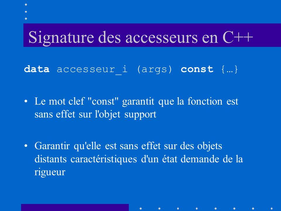 Signature des accesseurs en C++