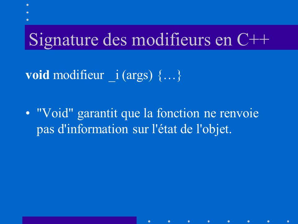Signature des modifieurs en C++