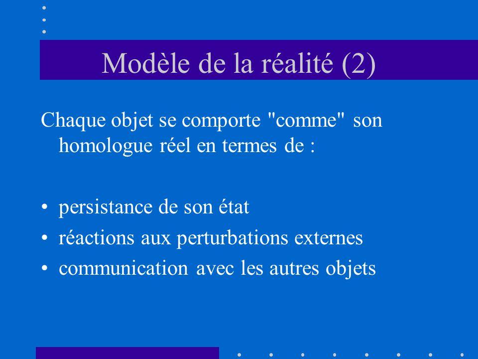 Modèle de la réalité (2) Chaque objet se comporte comme son homologue réel en termes de : persistance de son état.
