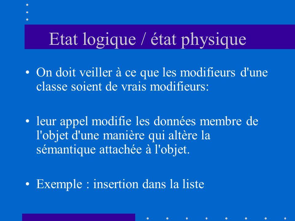 Etat logique / état physique