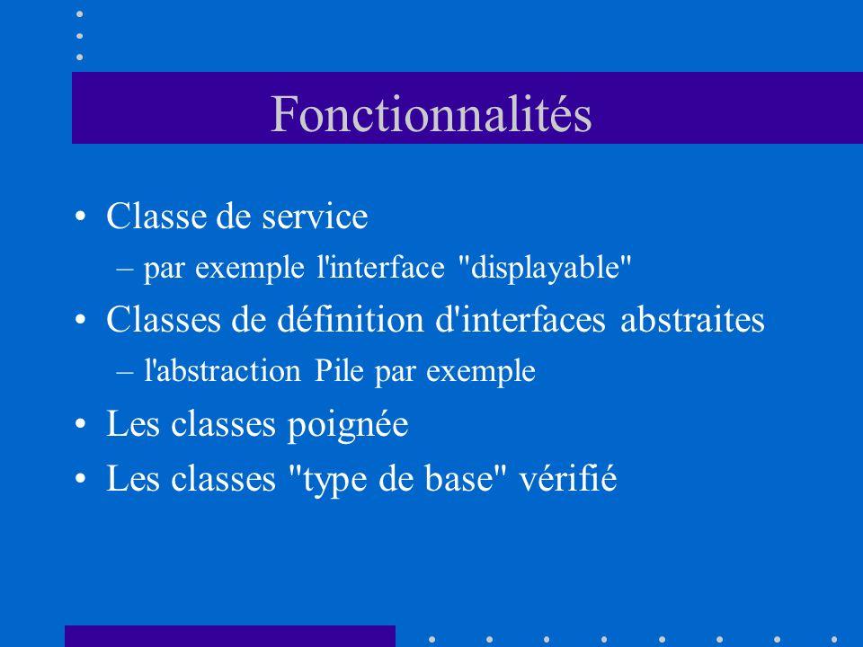 Fonctionnalités Classe de service