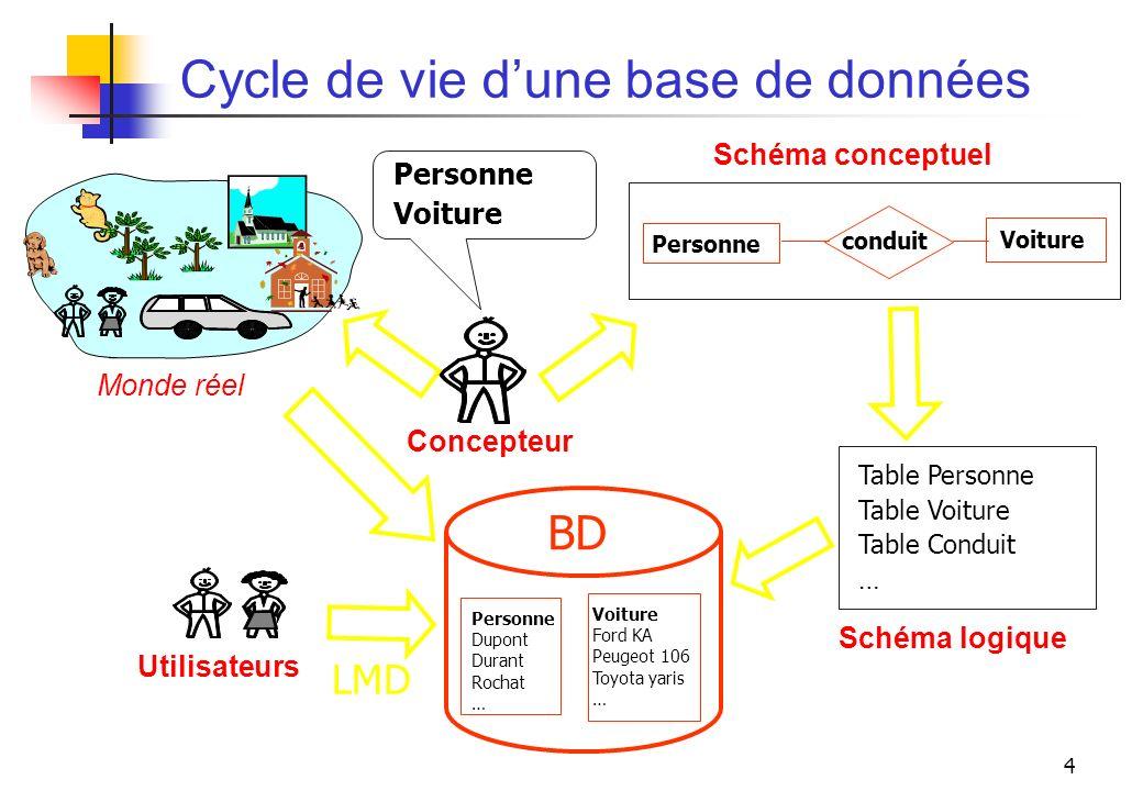 Cycle de vie d'une base de données