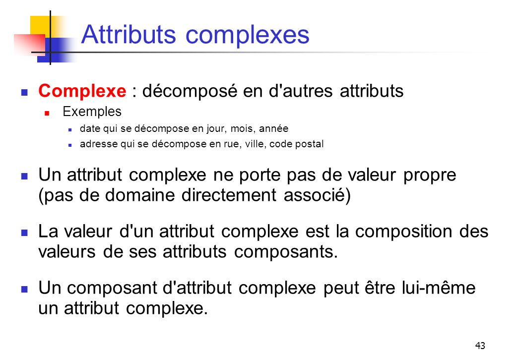 Attributs complexes Complexe : décomposé en d autres attributs