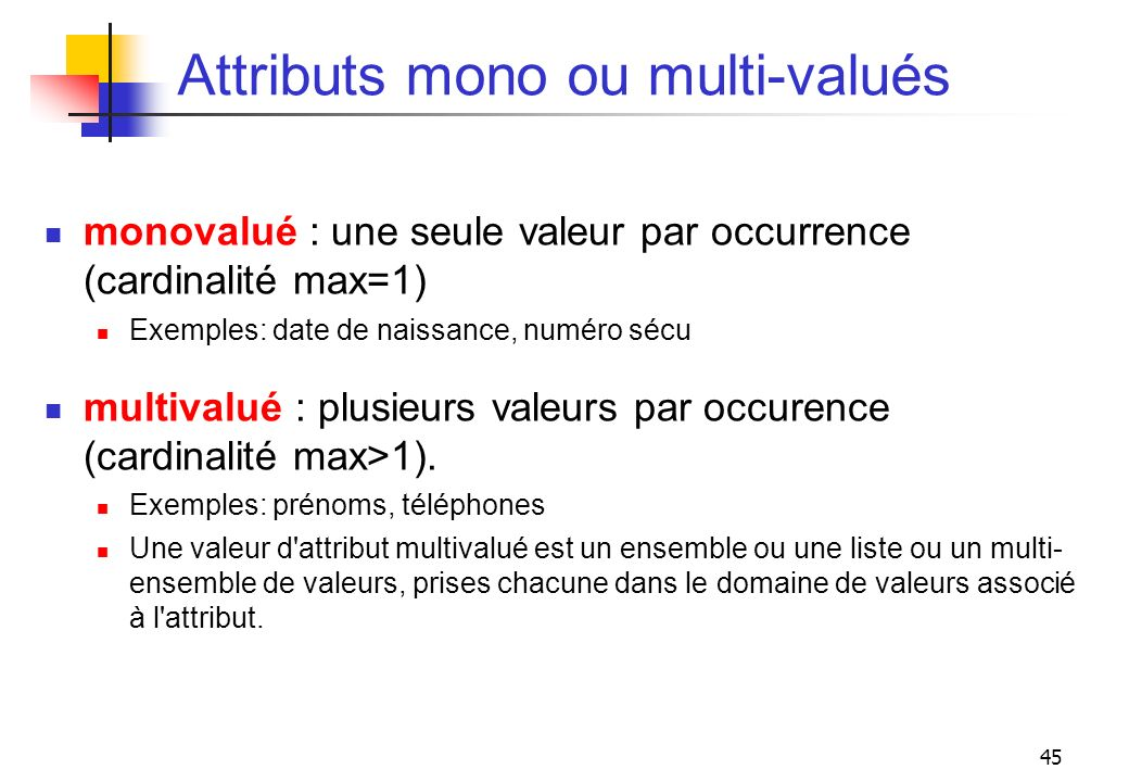 Attributs mono ou multi-valués