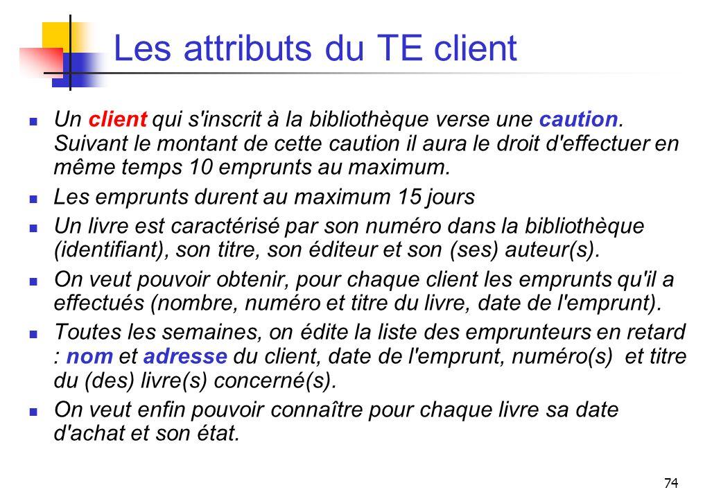 Les attributs du TE client
