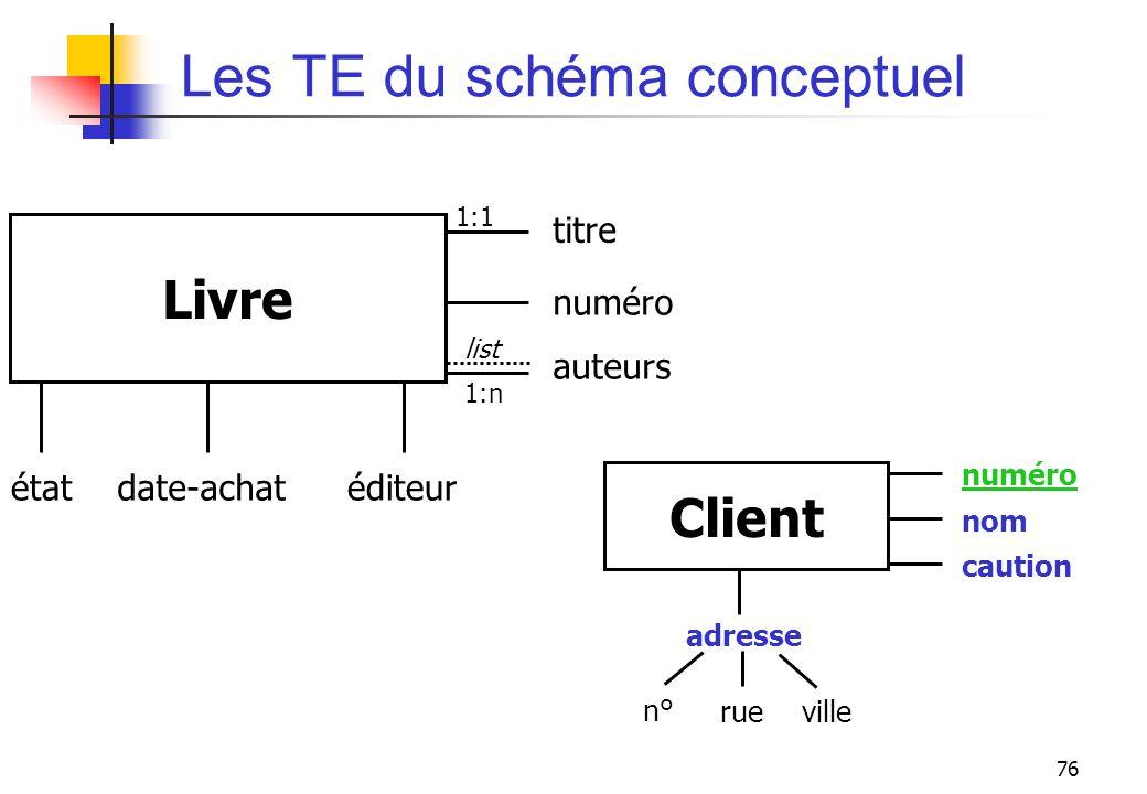 Les TE du schéma conceptuel