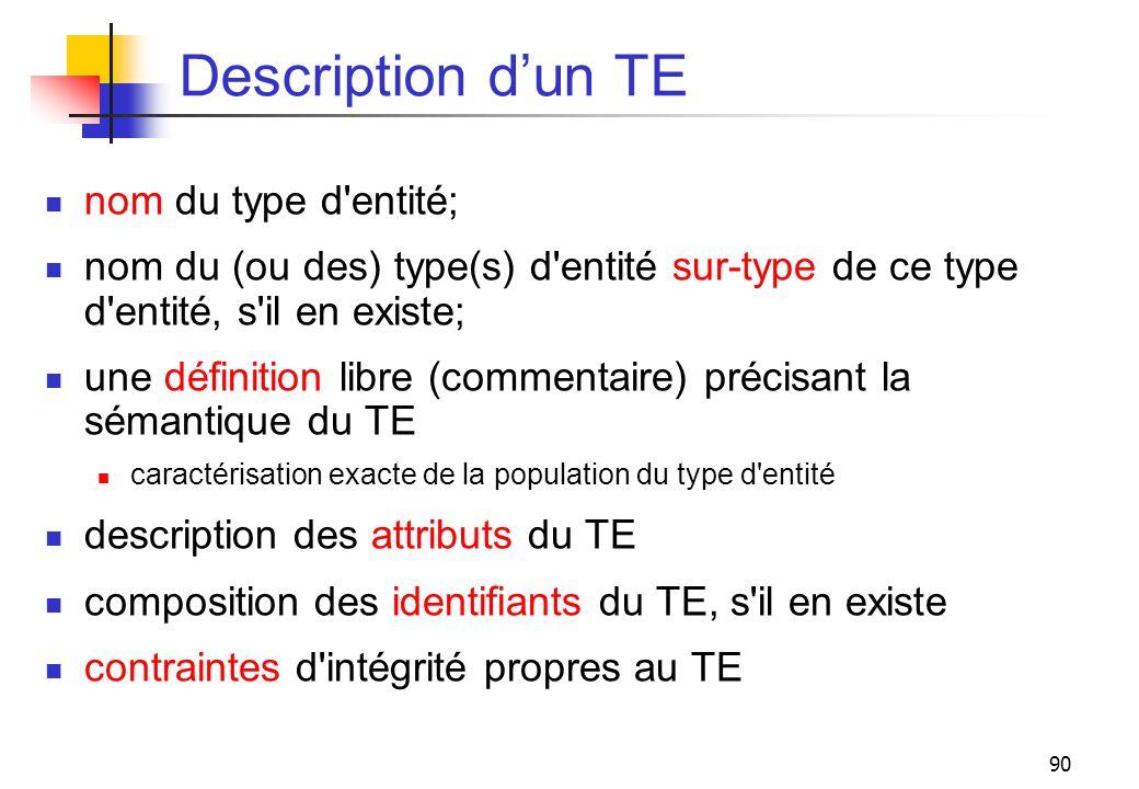 Description d'un TE nom du type d entité;