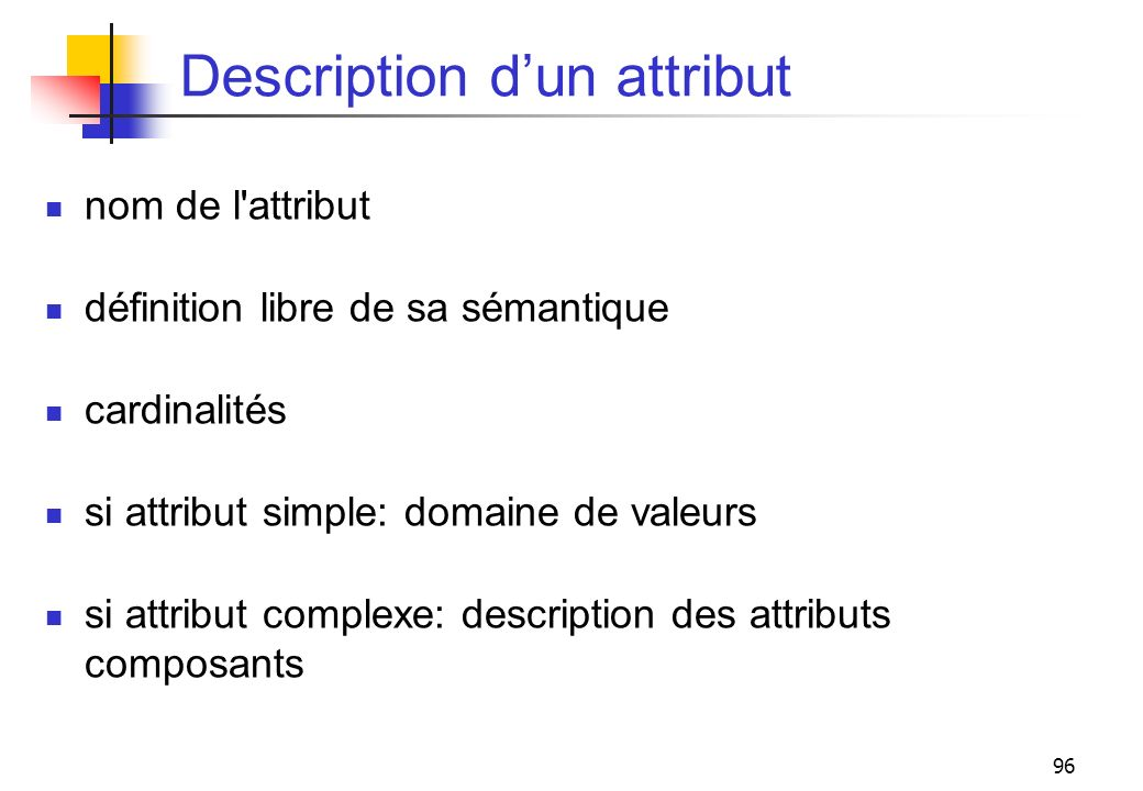 Description d'un attribut