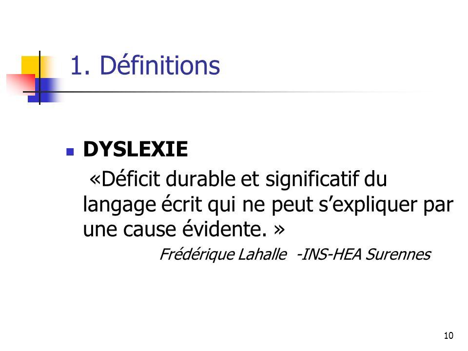 1. Définitions DYSLEXIE. «Déficit durable et significatif du langage écrit qui ne peut s'expliquer par une cause évidente. »