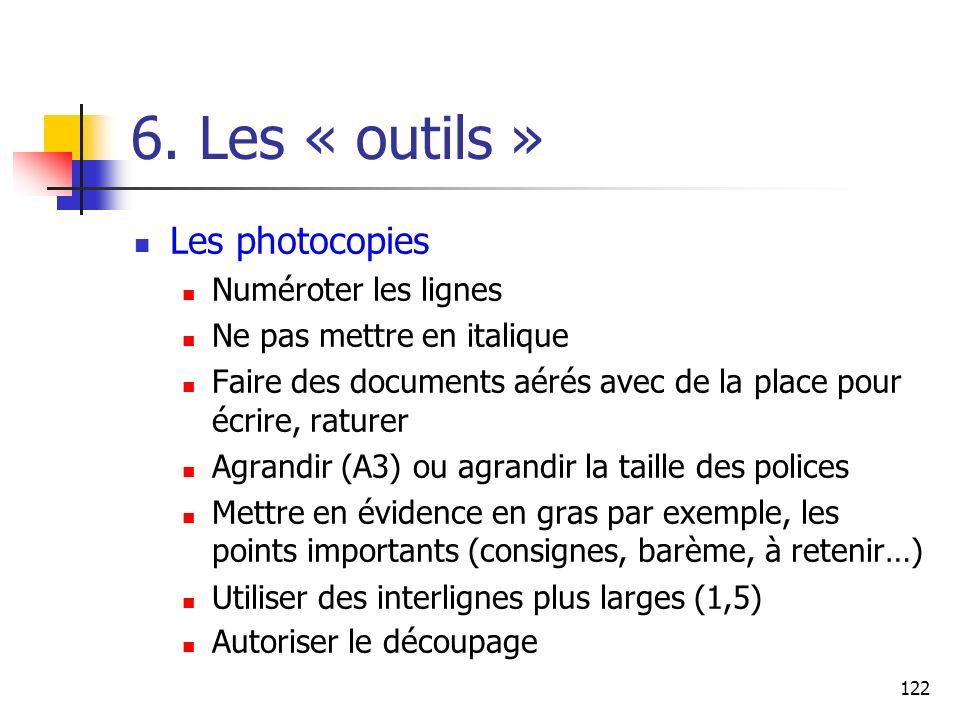6. Les « outils » Les photocopies Numéroter les lignes