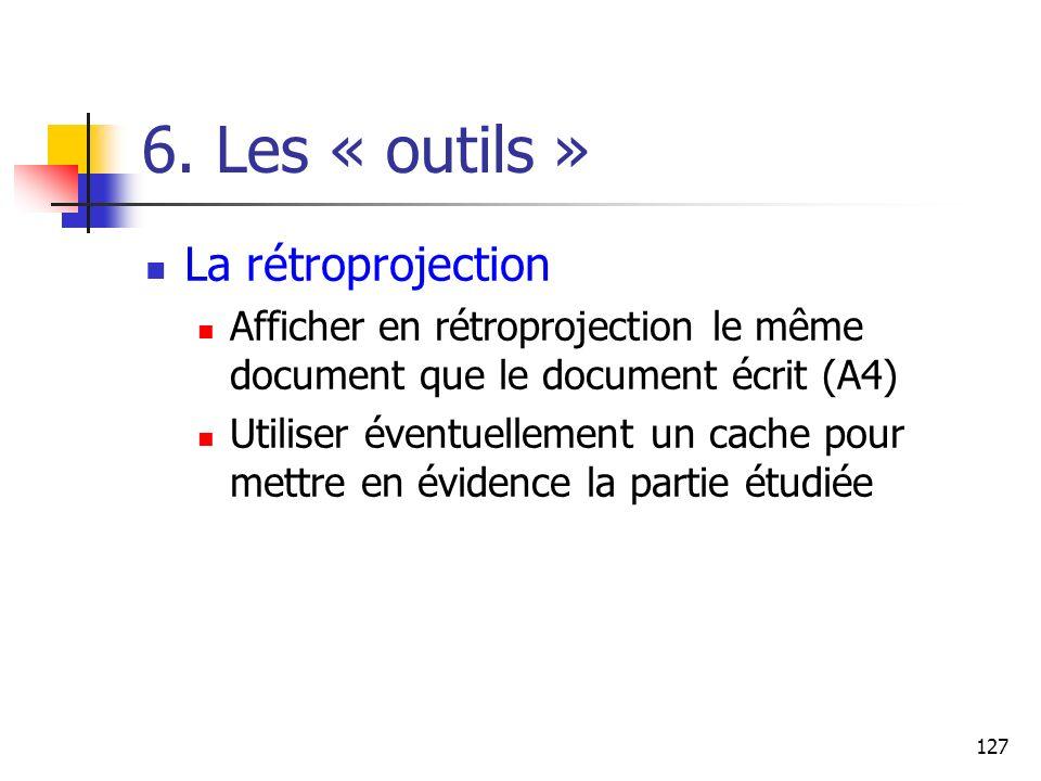 6. Les « outils » La rétroprojection