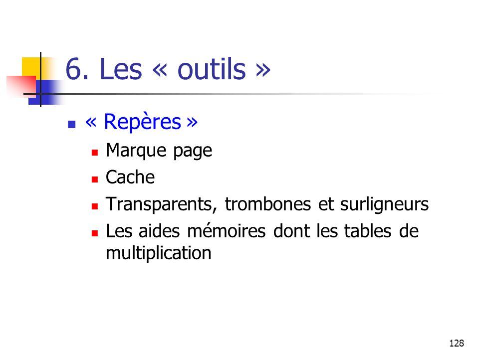 6. Les « outils » « Repères » Marque page Cache
