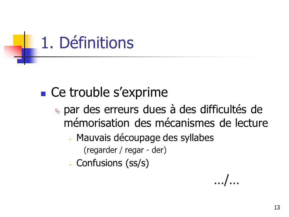 1. Définitions Ce trouble s'exprime