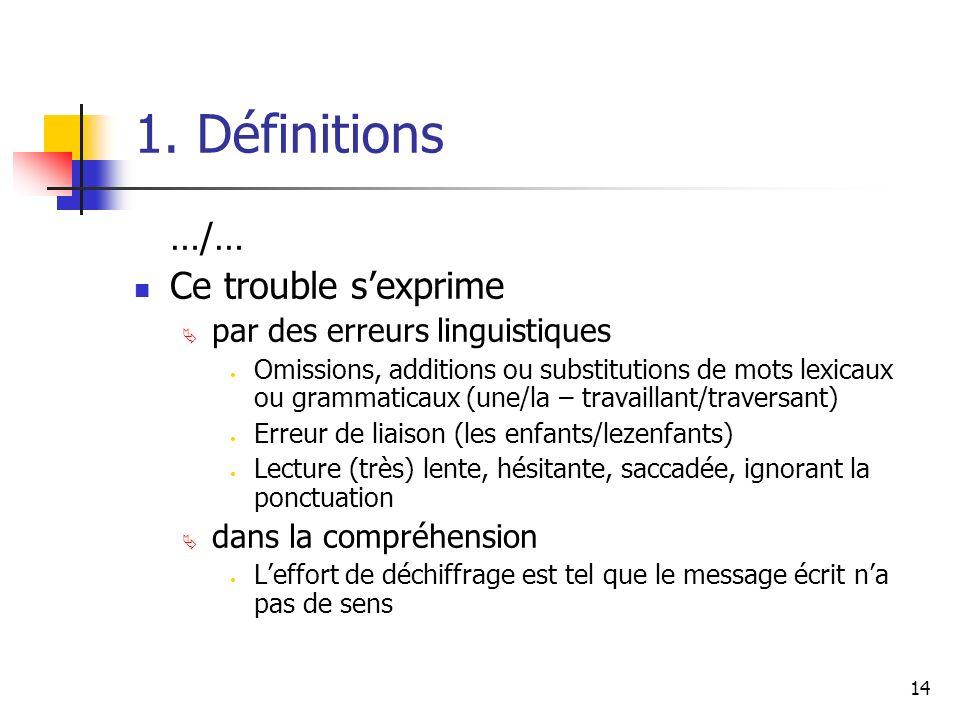 1. Définitions …/… Ce trouble s'exprime par des erreurs linguistiques
