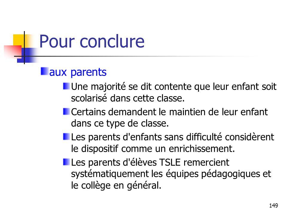Pour conclure aux parents