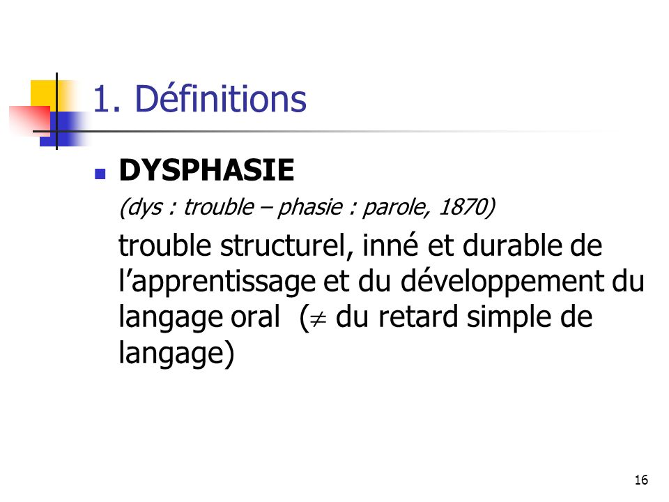 1. Définitions DYSPHASIE