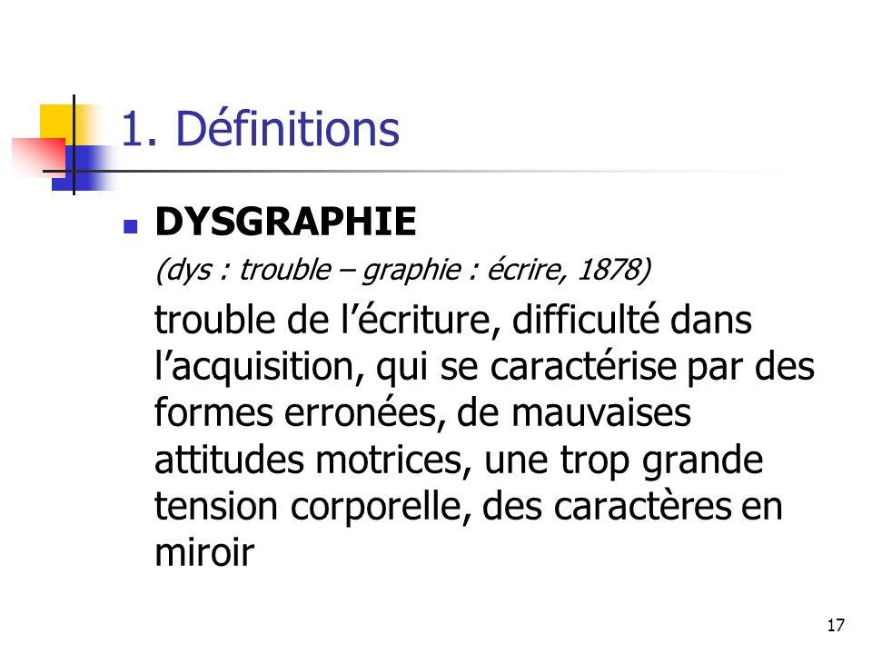 1. Définitions DYSGRAPHIE