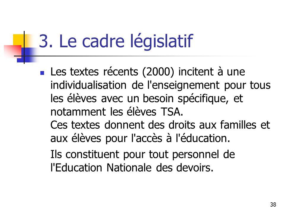 3. Le cadre législatif