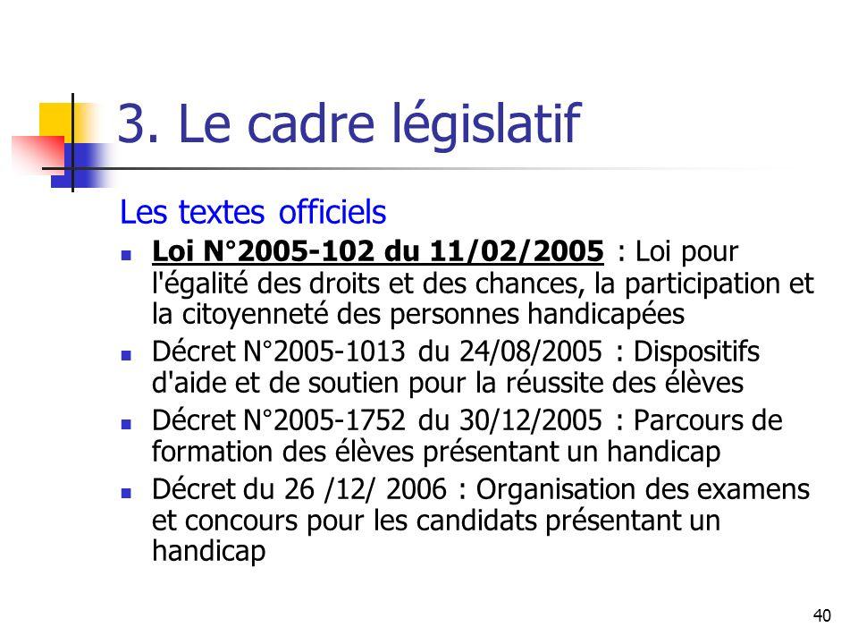 3. Le cadre législatif Les textes officiels