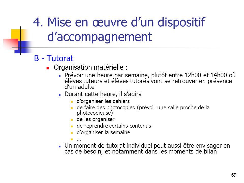 4. Mise en œuvre d'un dispositif d'accompagnement