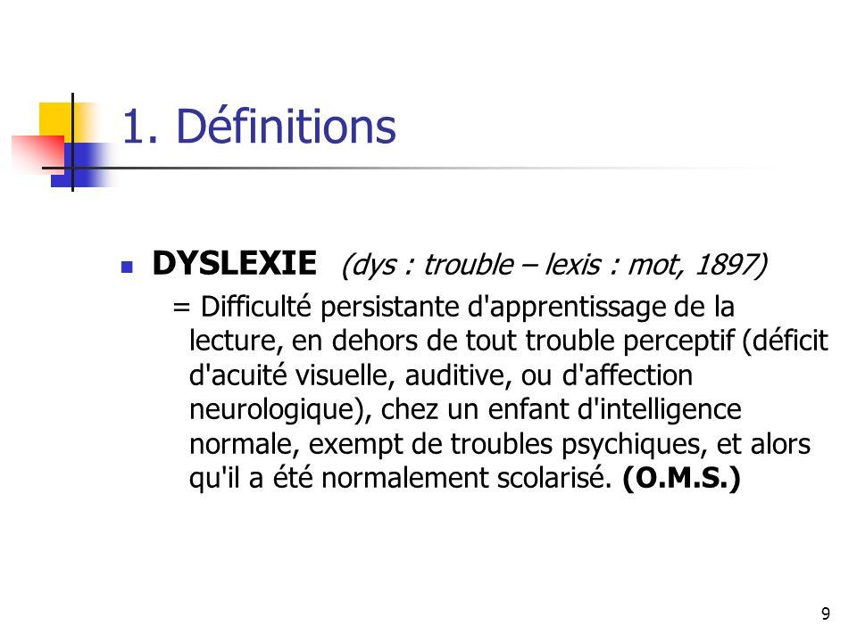 1. Définitions DYSLEXIE (dys : trouble – lexis : mot, 1897)